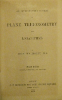 Portada de libro An Introductory Course of Plane Trigonometry and Logarithms